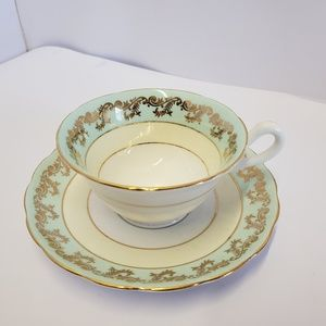 westbrook GOld and green Tea cup and saucer